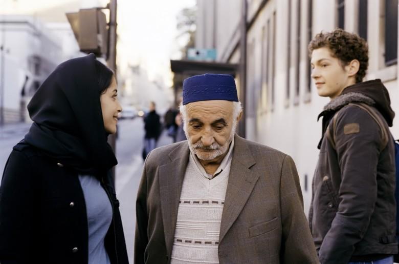 Leïla Bekhti as Zarka, Salah Teskouk as Zarka's grandfather, and Cyril Descours as François in Gurinder Chadha's 'Quais de Seine' PARIS, JE T?AIME