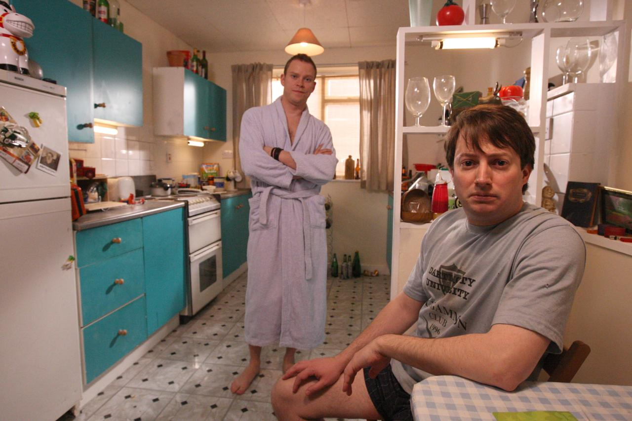 David Mitchell and Robert Webb on set in North London filming the new series of Peep Show.