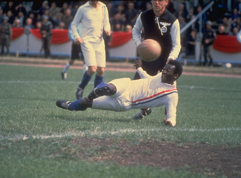 1982: Pele of Brazil scores the equalizing goal for the Allied POW's during the match against Germany in Paris featured in the filming of ''Escape to Victory'' . The match ended in a 4-4 draw. Mandatory Credit: Allsport UK /Allsport
