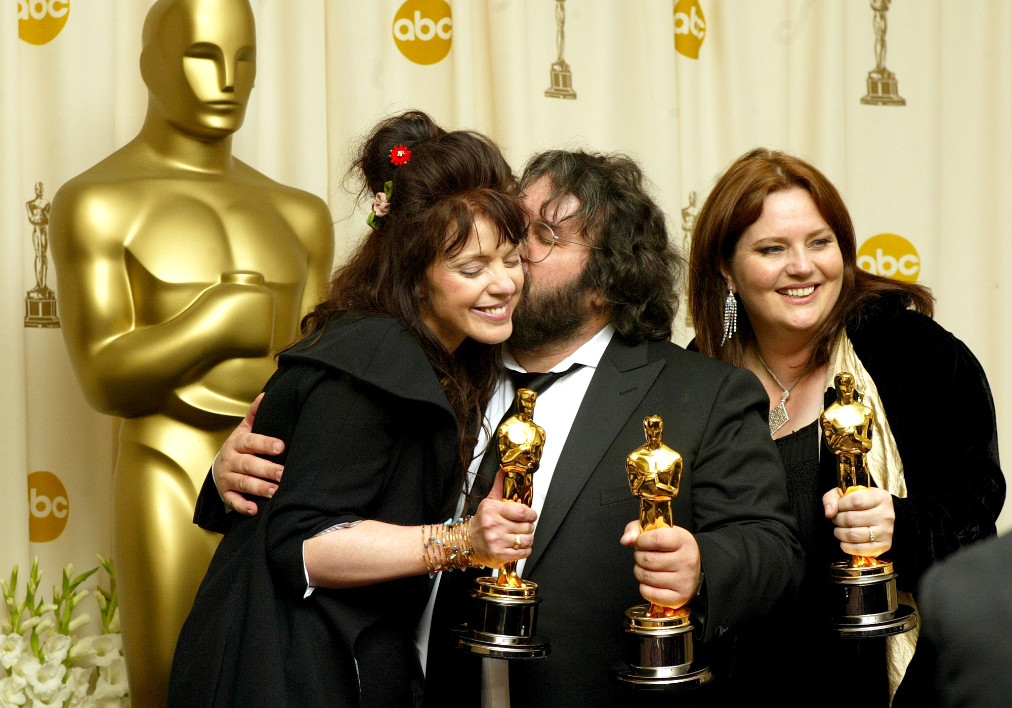 Lawrence K. Ho –– – Fran Walsh and Peter Jackson and Philippa Boyens with oscars for Best Adapted ScreenPlay Coverage of the 76th Annual Academy Awards at the Kodak Theatre in Hollywood, California on February 29, 2004.