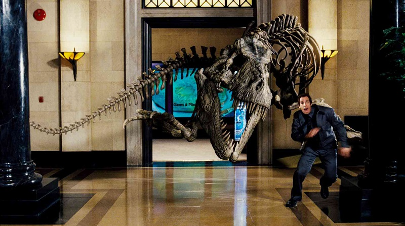 NATM-400 Security guard Larry Daley (Ben Stiller) flees, as a Tyrannosaurus Rex that has come to life at night carves a swath of destruction through a museum's marble corridors.