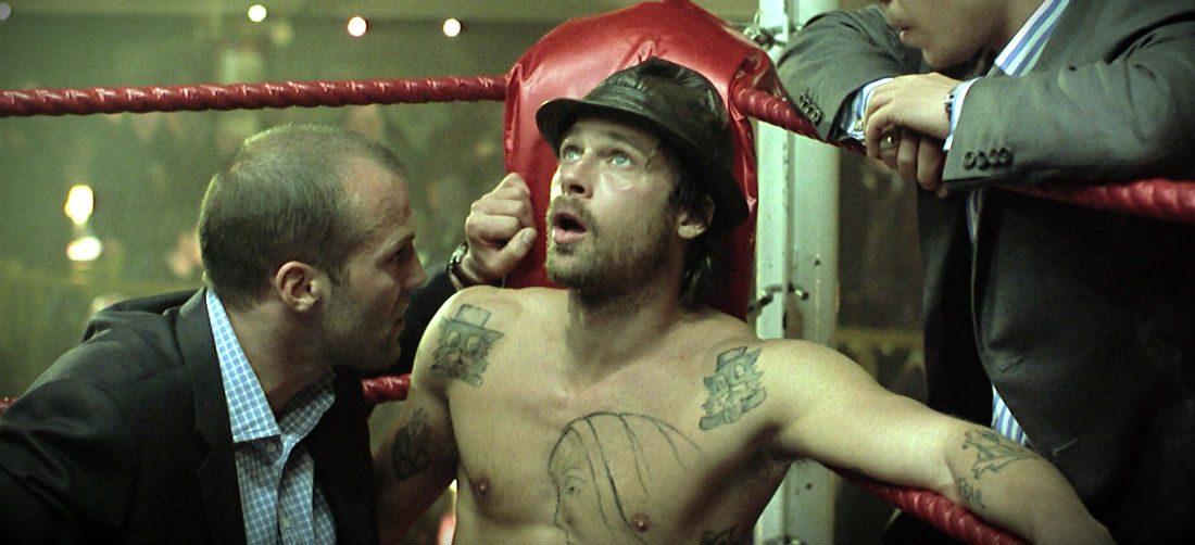 "Brad Pitt, Jason Statham; kadr z filmu ""Przektęt"""